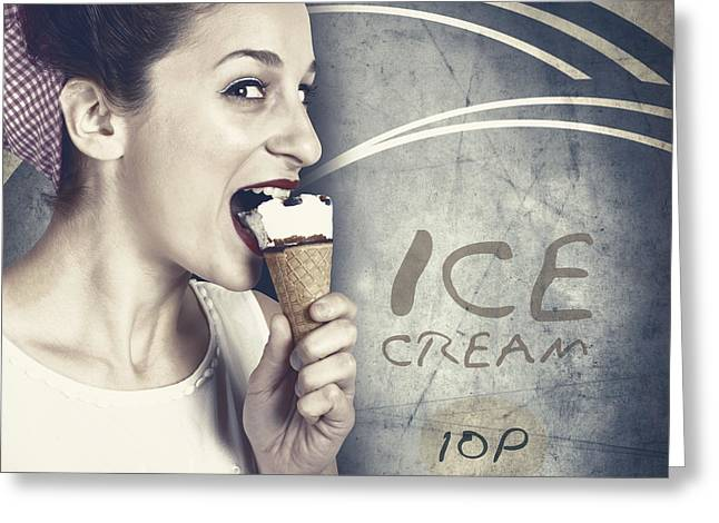 Youthful Greeting Cards - Ice cream poster girl on vintage ice-cream advert Greeting Card by Ryan Jorgensen