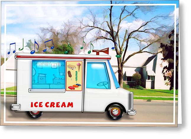 Ice Cream Illustration Greeting Cards - Ice Cream Truck in the Street Greeting Card by Elaine Plesser