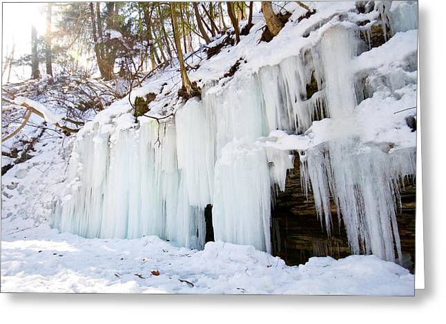 Buttermilk Falls Greeting Cards - Ice Falls Greeting Card by Tim  Fitzwater