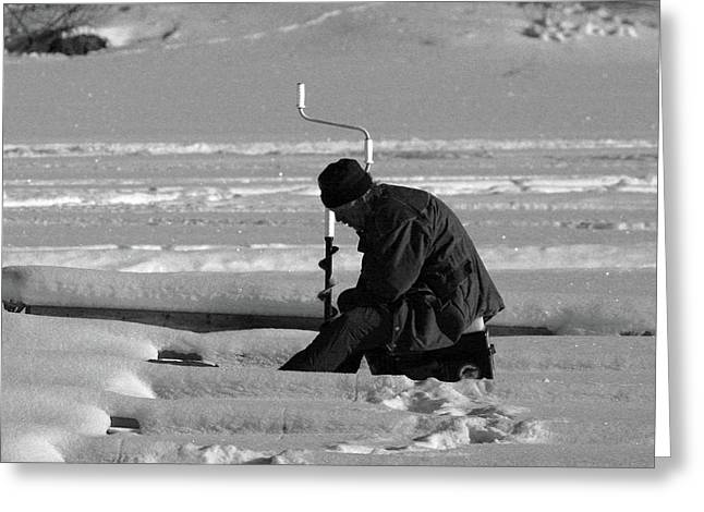 Concentration Greeting Cards - Ice Fishing  Greeting Card by Dagmar Ceki