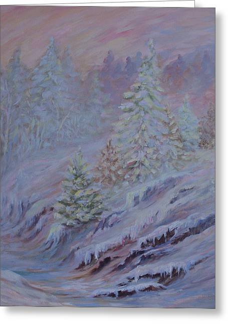Ice Fog Greeting Cards - Ice Fog in the Forest Greeting Card by Joanne Smoley