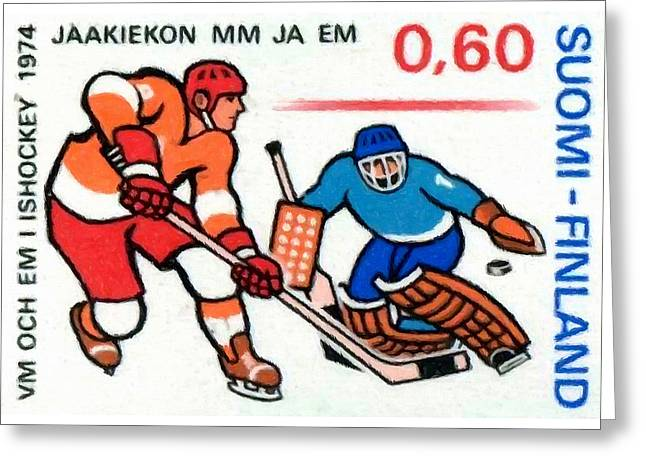 Hockey Paintings Greeting Cards - Ice Hockey players Greeting Card by Lanjee Chee