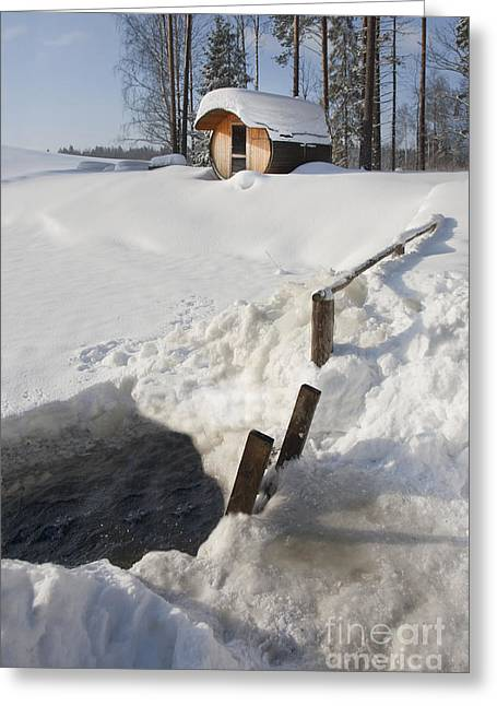 Barrel Greeting Cards - Ice Hole and Sauna at a Resort Greeting Card by Jaak Nilson