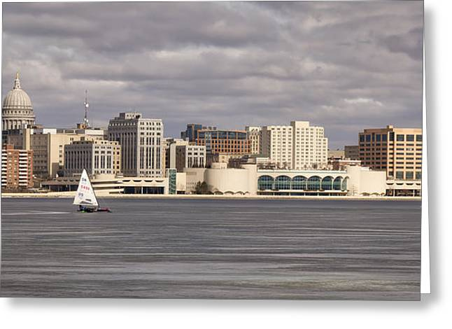 Ice Sailing - Lake Monona - Madison - Wisconsin Greeting Card by Steven Ralser