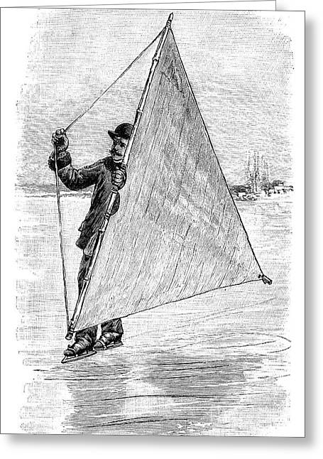 Ice-skating Greeting Cards - Ice Sailing On Skates, 19th Century Greeting Card by Spl