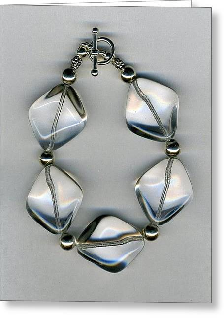 Sterling Silver Bracelet Jewelry Greeting Cards - Ice Sickle Glass Bead Bracelet-jewelry Greeting Card by Althea Morgan-Campbell