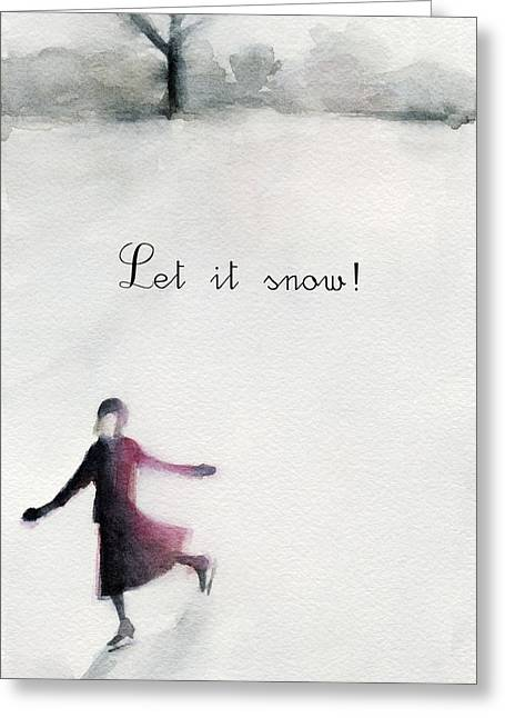 Ice Skater Holiday Card Greeting Card by Beverly Brown