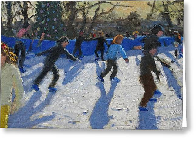 Ice-skating Greeting Cards - Ice Skaters at Christmas Fayre in Hyde Park  London Greeting Card by Andrew Macara