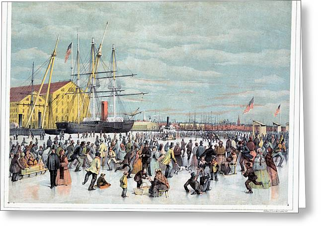 Ice Skaters, C1856 Greeting Card by Granger