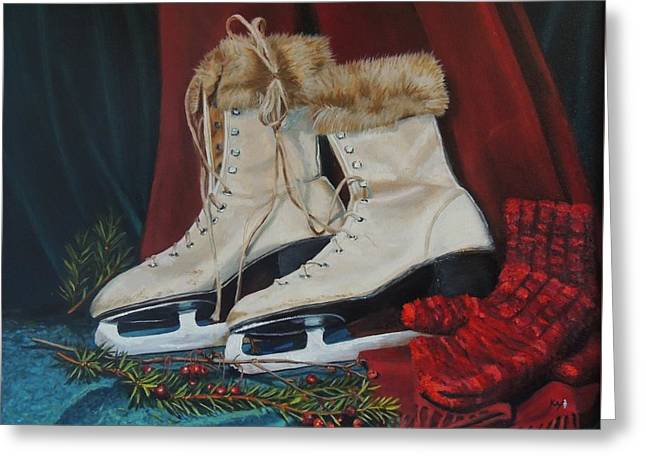 Ice Skates And Mittens Greeting Card by Patty Kay Hall