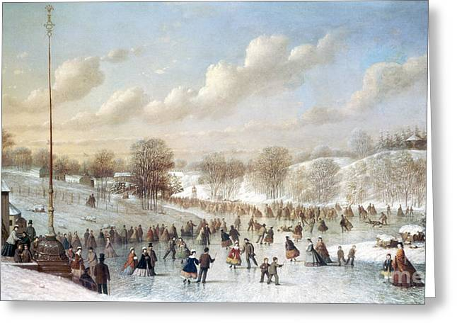 ICE SKATING, 1865 Greeting Card by Granger