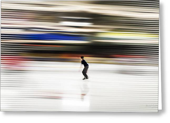 Ice-skating Greeting Cards - Ice Skating Blast Greeting Card by Michel Godts