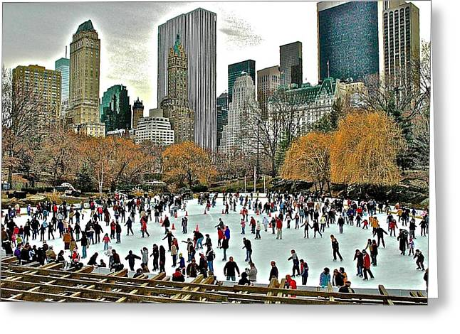 Ice-skating Greeting Cards - Ice Skating in Central Park Greeting Card by Danielle Sigmon