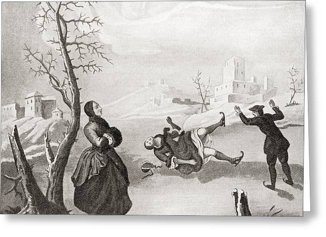 Ice-skating Greeting Cards - Ice Skating In The 18th Century. From Greeting Card by Ken Welsh