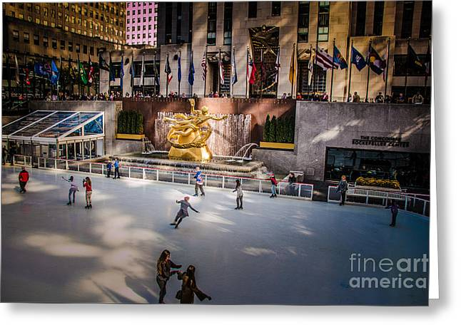 Ice-skating Greeting Cards - Ice Skating Rink at Rockefeller Center Greeting Card by  ILONA ANITA TIGGES - GOETZE  ART and Photography