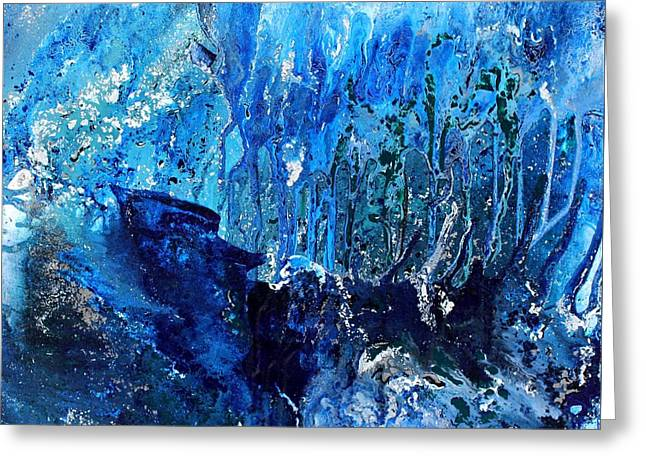 Recently Sold -  - Blue And Green Greeting Cards - Ice Storm Greeting Card by Karin Kohlmeier