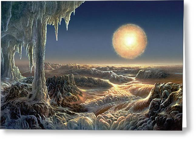 Astronomy Paintings Greeting Cards - Ice World Greeting Card by Don Dixon
