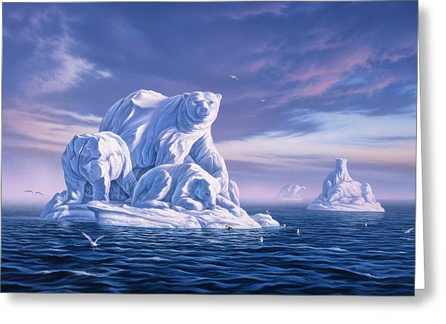 Carved Greeting Cards - Icebeargs Greeting Card by Jerry LoFaro