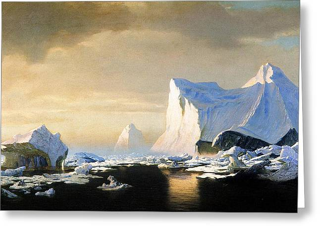 White Caps Greeting Cards - Icebergs Greeting Card by William Bradford