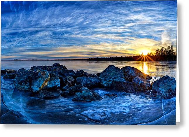 Colorful Cloud Formations Greeting Cards - Icebound Sunset Panorama Greeting Card by Bill Caldwell -        ABeautifulSky Photography