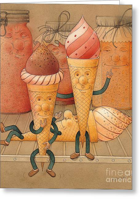 Icecream Greeting Cards - Icecream in the Fridge Greeting Card by Kestutis Kasparavicius