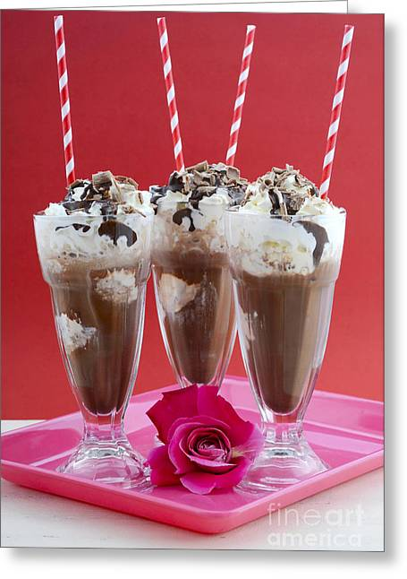 Tabletop Greeting Cards - Iced chocolate drinks in classic soda pop glasses. Greeting Card by Milleflore Images