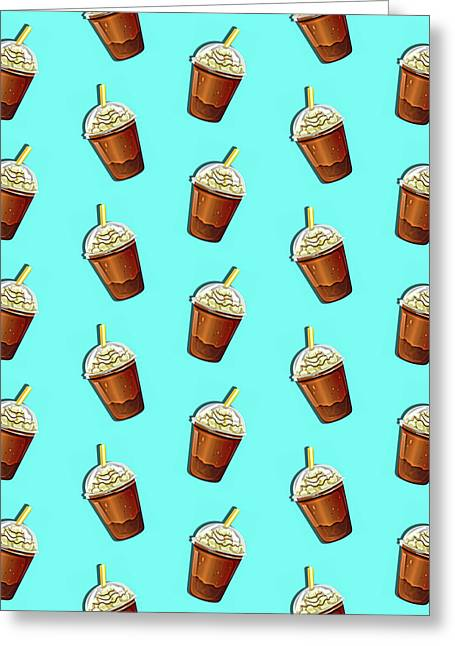 Iced Coffee To Go Pattern Greeting Card by Little Bunny Sunshine