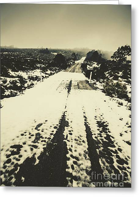 Iced Over Road Greeting Card by Jorgo Photography - Wall Art Gallery