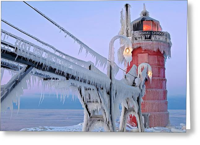 Catwalk Greeting Cards - Iced South Haven Lighthouse Greeting Card by Dean Pennala