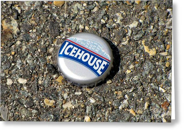 Icehouse Bottle Cap Greeting Card by Ben Schumin