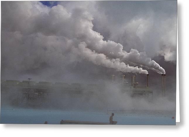Iceland, Blue Lagoon, Grindavik, People Greeting Card by Keenpress
