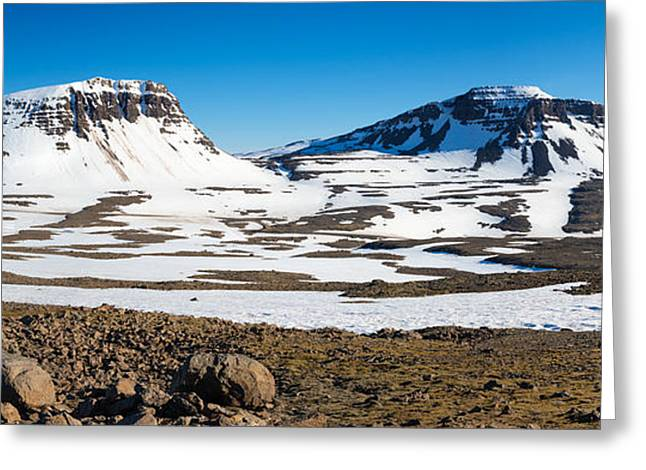 Snow-covered Landscape Greeting Cards - Iceland snow-covered mountains panorama Greeting Card by Matthias Hauser