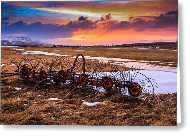 Iceland Sunset # 1 Greeting Card by Tom and Pat Cory