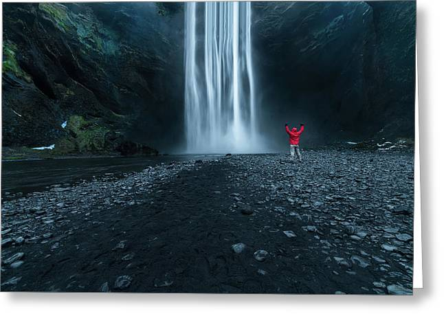 Iceland Waterfall Greeting Card by Larry Marshall