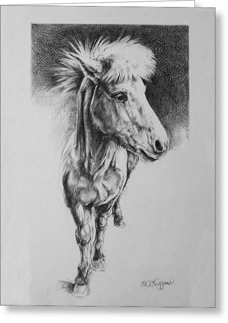 Flying Animal Drawings Greeting Cards - Icelandic Horse Greeting Card by Derrick Higgins
