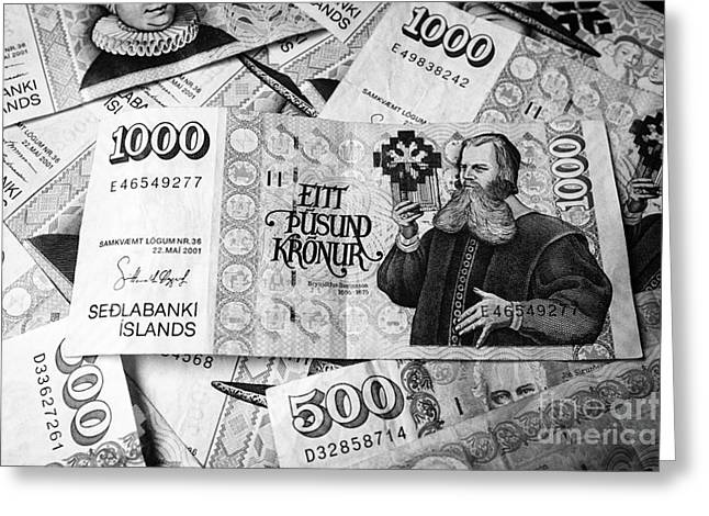 Inflation Greeting Cards - Icelandic kronur currency Greeting Card by Joe Fox