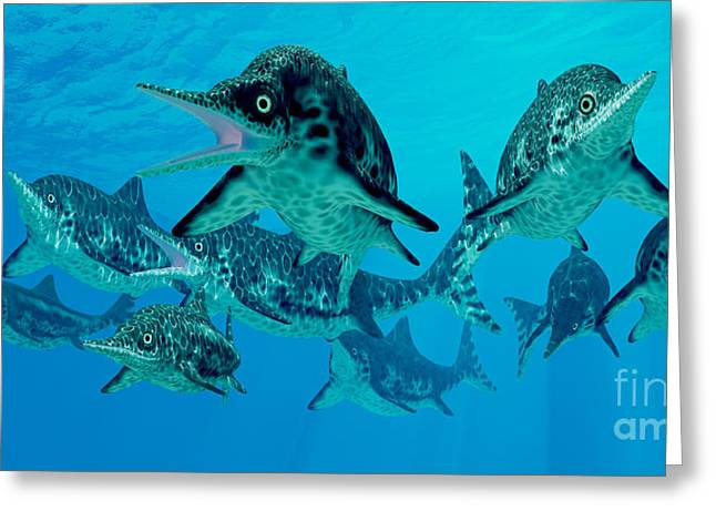 Sea Life Digital Art Greeting Cards - Ichthyosaur Hunting Group Greeting Card by Corey Ford