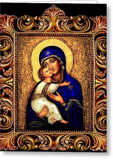 Angel Art Greeting Cards - Icon Madonna Altar Greeting Card by Ananda Vdovic
