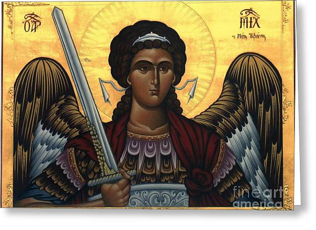 Byzantine Drawings Greeting Cards - Icon Mikail Greeting Card by Matteo TOTARO