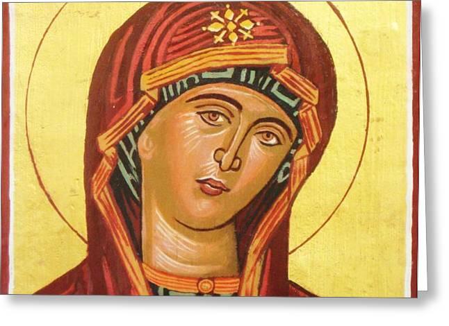 Icon of the virgin Mary. Greeting Card by Anastasis  Anastasi
