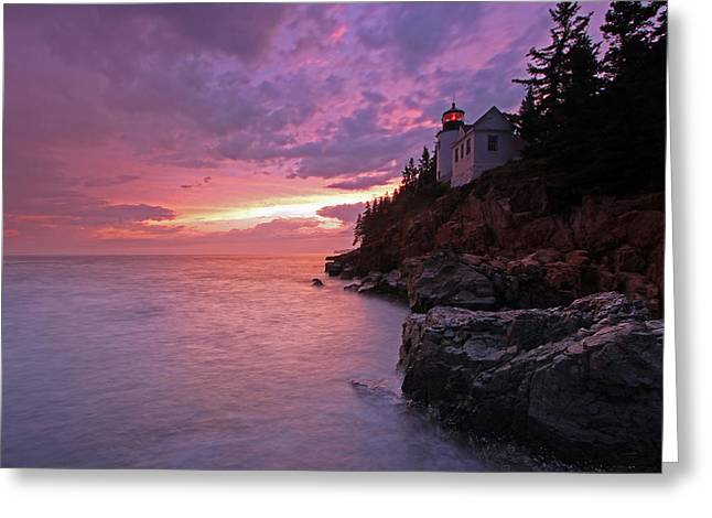 Maine Lighthouses Greeting Cards - Iconic Bass Harbor Lighthouse Greeting Card by Juergen Roth