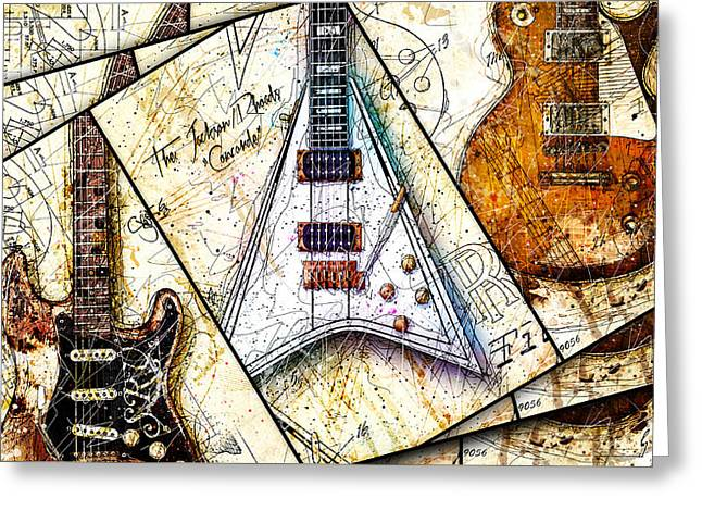 Les Digital Art Greeting Cards - Iconic Guitars Panel 1 Greeting Card by Gary Bodnar