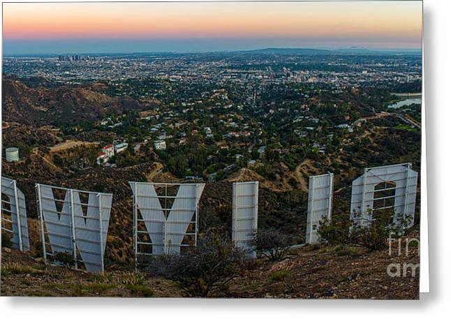 Winter Night Greeting Cards - Iconic Hollywood Nights Greeting Card by Art K