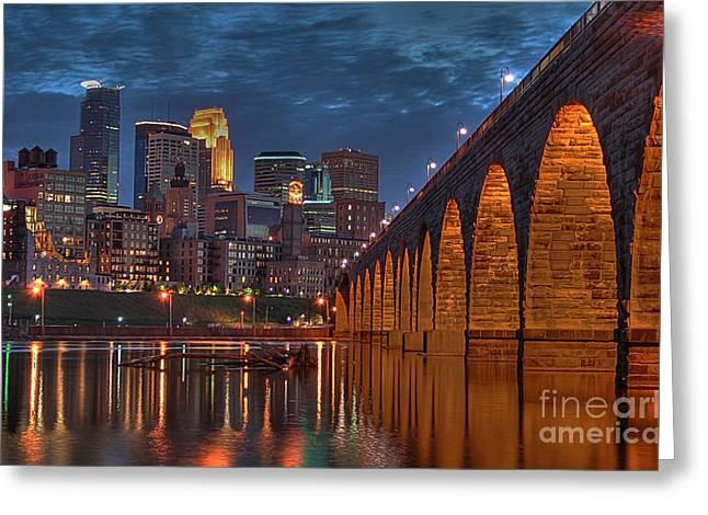 Historic Architecture Greeting Cards - Iconic Minneapolis Stone Arch Bridge Greeting Card by Wayne Moran