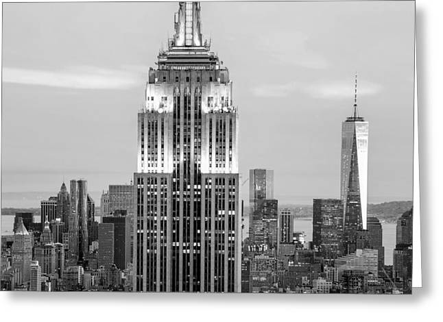 Black And White Photos Greeting Cards - Iconic Skyscrapers Greeting Card by Az Jackson