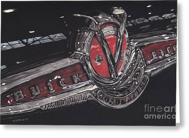 Vintage Hood Ornament Drawings Greeting Cards - Icons Buick V8 Greeting Card by Matthew Jarrett