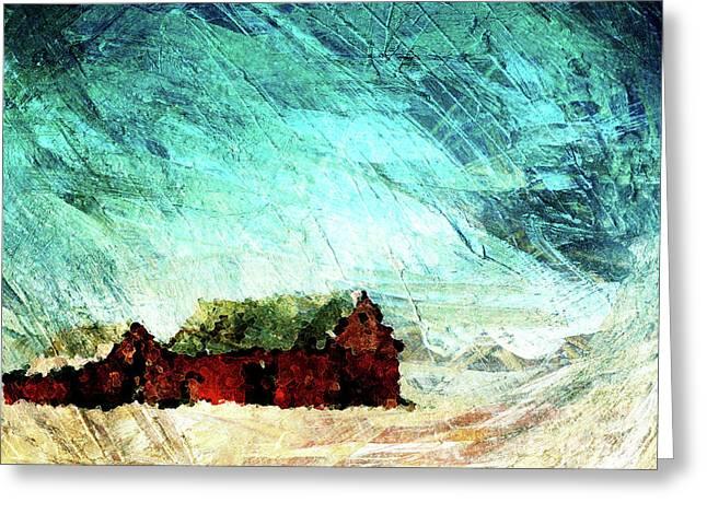 Barn Yard Digital Greeting Cards - Icy Barns Greeting Card by Andrea Barbieri
