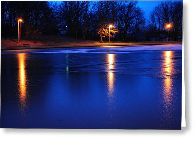 Light Pole Greeting Cards - Icy Glow Greeting Card by Frozen in Time Fine Art Photography