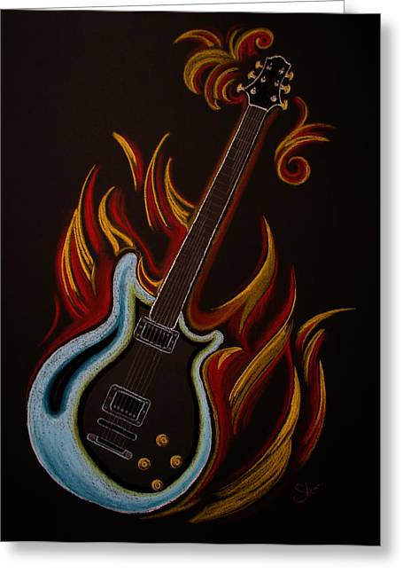 Flames Pastels Greeting Cards - Icy Hot Axe Greeting Card by Chimera Kai