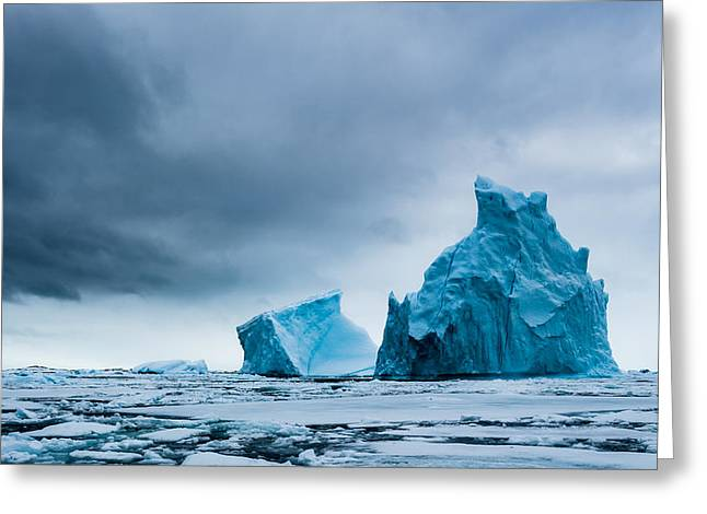 Icy Monoliths - Antarctica Iceberg Photograph Greeting Card by Duane Miller
